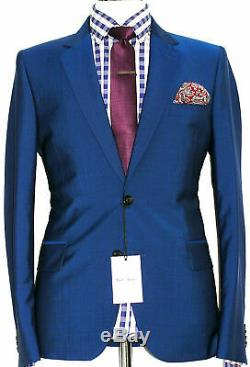 Bnwt Mens Paul Smith Soho London Royal Petrol Blue Slim Fit Suit 38r W32