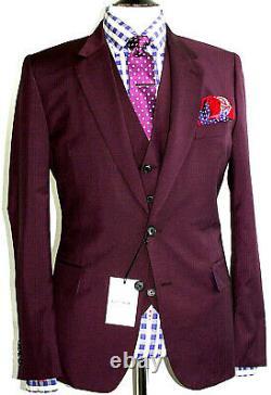 Bnwt Mens Paul Smith Soho London Wine Burgundy Slim Fit 3 Piece Suit 44r W38