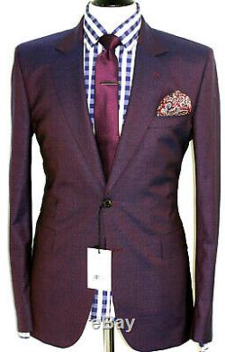 Bnwt Mens Paul Smith The Mainline London Birdseye Purple Slim Fit Suit 40r W34