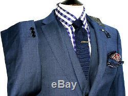 Bnwt Mens Ted Baker Endurance London Navy 3 Piece Slim Fit Suit 42r W36 X L32