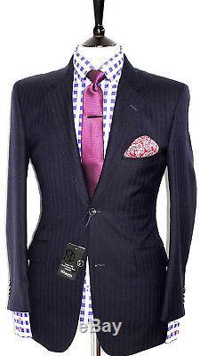 Bnwt Mens Tm T. M. Lewin London Navy Herringbone Slim Fit Suit 38r W32 X L29