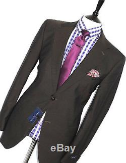 Bnwt Mens Tommy Hilfiger Stripey Brown Tailor-made Slim Fit Suit 44r W38 X L32