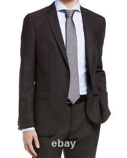 Boss By Hugo Boss Mens Huge/Genius Slim Fit Textured Wool Suit 42R Black/Red