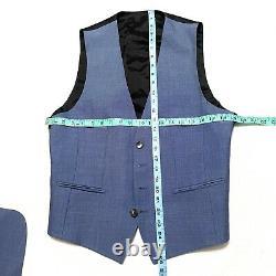 Boss Hugo 38 R 3 Pc Suit Slim Fit Blue Wool Silk Harrington Vest Pants Jacket