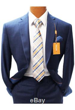 Brand New 2017! Tallia Navy Blue Check Slim Fit Suit Mens Suits