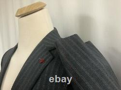 Brand New Isaia Gray Rope Stripe Base S Slim Fit Drop 8 Suit 40S $3495.00