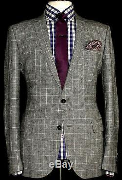 Brand New Mens Reiss London Prince Of Wales Check Slim Fit Suit 42r W36 X L32