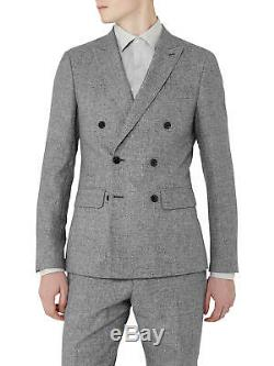 Brand New Reiss'Bribe' Mottled Weave Double Breasted Slim Fit Suit UK38 W32