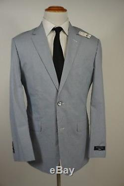 Brooks Brothers Milano Blue Suit 42L (36W) Light Weight Cotton Blend Slim Fit