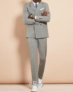 Brooks Brothers Windowpane Double Breasted Slim Fit Suit Grey Size 40R NWT