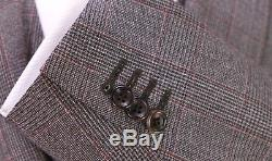 CANALI Very Recent Brown/Black/Red Plaid 3-Pc Slim Fit Wool Suit 38R