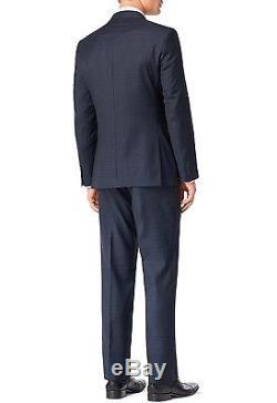 Calvin Klein 2 Piece Mens Navy Plaid Extra Slim Fit 100% Wool Suit MBYR25FY0393