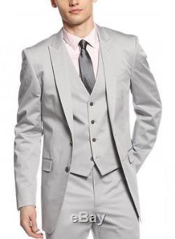 Calvin Klein Extreme Slim Fit Three Piece Gray Textured Cotton Blend Suit