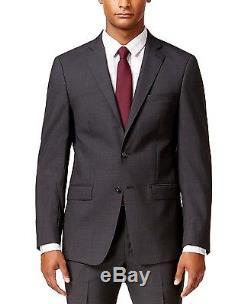 Calvin Klein X Slim Fit 100% Wool Men's 2 Piece Suit Charcoal Grid Check Grey CK