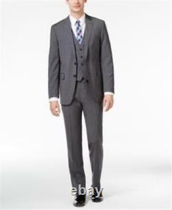 Calvin Klein X Slim Fit 3pc Vested Suit Grey Mens Size 44L 37W New