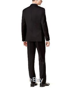 Calvin Klein X Slim Fit Wool Black 2 Button Jacket Flat Front Pants Men's Suit