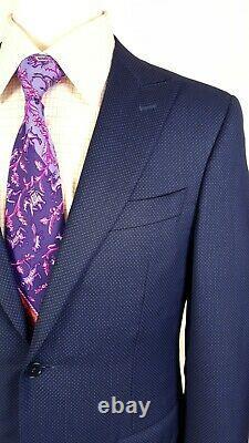 Canali 1934 SLIM FIT 38R Peak Lapel Suit Flat Pants 34x31 Blue Honeycomb