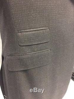 Canali Charcoal Gray/Burgundy Plaid Check Peak Lapel Slim Fit Suit 46R $2595.00