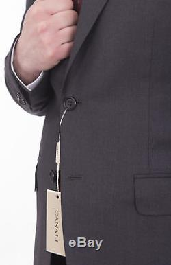 Canali Exclusive Slim Fit 42r 52 Drop 8 Solid Charcoal Gray Super 150s Wool Suit