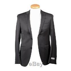 Canali Men's Two Button Black Slim Fit 100% Wool Suit US 34 EU 44