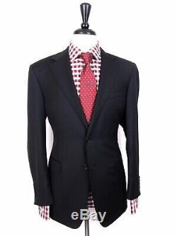 Canali Mens Black Striped Slim Fit Wool Suit 40r 32w 32l Recent