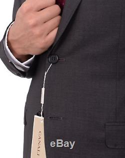 Canali Slim Fit 40r 50 Drop 8 Solid Charcoal Gray Two Button Wool Silk Suit