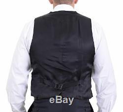 Canali Slim Fit 44l 54 Drop 8 Navy Blue Tonal Striped Three Piece Wool Suit