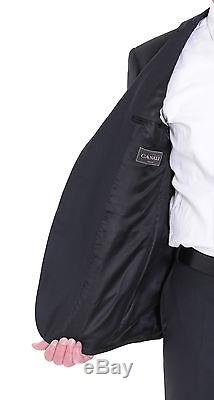Canali Slim Fit 44r 54 Drop 8 Solid Black Two Button Wool Suit