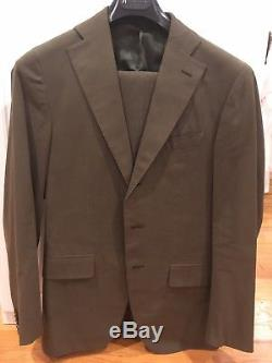 Caruso Suit Sz 36/46 Slim Fit All Cotton Green Made In Italy