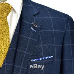 Cavani Macy Mens New 3 Piece Suits Check Slim Fit Suit Navy Sizes 36-52