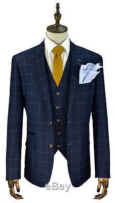 Cavani Macy Mens New 3 Piece Suits Check Tweed Slim Fit Suit Navy & Grey