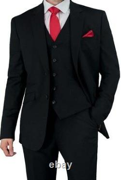 Cavani Men's Three Piece Black Slim Fit Suit for Formal Wedding Evening Dinner
