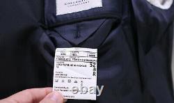 Corneliani CC New Solid Black Peak Lapel 1-Btn Modern Fit Wool Suit Mens 42R