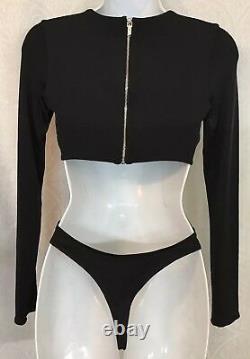 Cushnie Et Ochs Body Suit Black Gloss Jersey Long Sleeve Size XS NWT $695