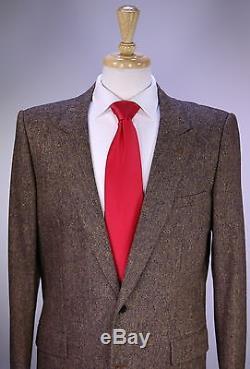DIOR Homme Brown Donegal Tweed Peak Lapel Slim Fit Wool 2-Btn Suit 42L