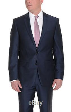 DKNY Skinny Blue Textured Two Button Slim Fit Wool Suit