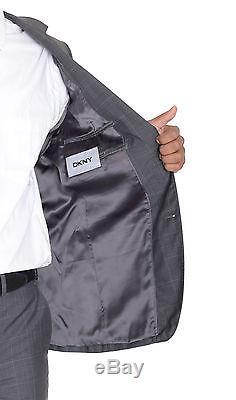 DKNY Slim Fit Medium Gray Windowpane Two Button Wool Silk Blend Suit