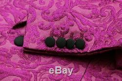 DOLCE & GABBANA Pink 3 PIECE Jacquard Slim Fit Suit UK40 IT50 C40xW34xUnf NEW