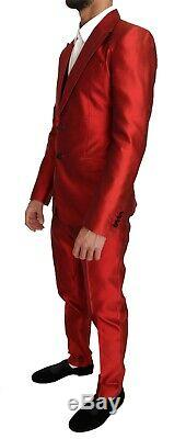 DOLCE & GABBANA Suit Slim Fit Red Silk 3 Piece Two Button IT48 / US38 RRP $4000