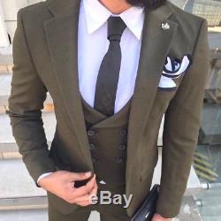 Designer Business Grün Green Suit Herren Anzug Sakko Weste Tailliert Slim Fit 50