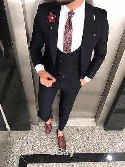 Designer Business Suit Schwarz Herrenanzug Sakko Hose Weste Tailliert Slim Fit