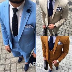 Designer Suit Business Hellblau Herren Anzug Sakko Hose Weste Tailliert Slim Fit