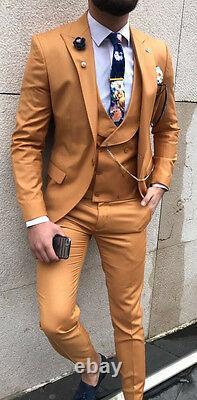 Designer Suit Business Hellbraun Herrenanzug Sakko Hose Weste Tailliert Slim Fit