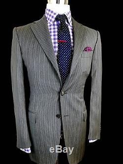 Ermenegildo Zegna Men's Grey Striped Slim Fit Wool Suit 38r 30w 34l