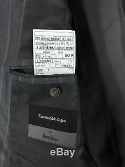 Ermenegildo Zegna Mens Grey Striped Silk Blend Roma Slim Fit Suit 40R 32R 31W