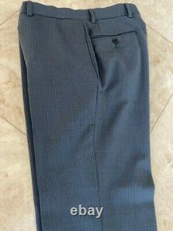 Ermenegildo Zegna blue Flat Front Suit, 38S 31W slim fit wool striped