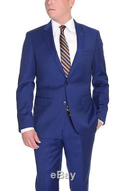 Extra Slim Fit Solid Royal Blue Two Button Wool Suit