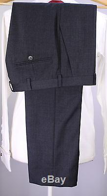 GUCCI Recent Custom Solid Charcoal Gray Peak Lapel 2B Slim Fit Wool Suit 36S