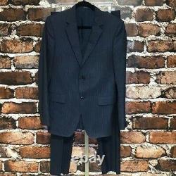 GUCCI Suit Jacket Pants 2 Piece Buttons Pinstripes Slim Fit Blue Italy 38R