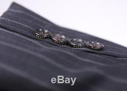 GUCCI Very Recent Black Striped Peak Lapel 2-Btn Slim Fit Luxury Suit 42R